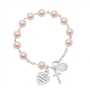 Personalised Rosary Bracelet in White or Pink | Heavens Blessings